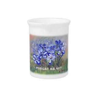 Wildflowers azules en una pintura de la bella arte jarra para bebida