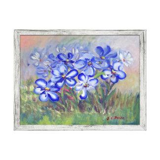 Wildflowers azules en una pintura de la bella arte lona envuelta para galerias