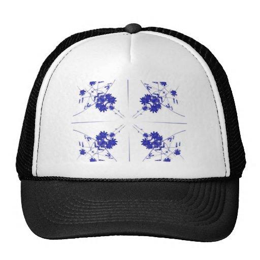 Wildflowers azules y blancos en 4 encima de modelo gorro
