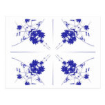 Wildflowers azules y blancos en 4 encima de modelo postal
