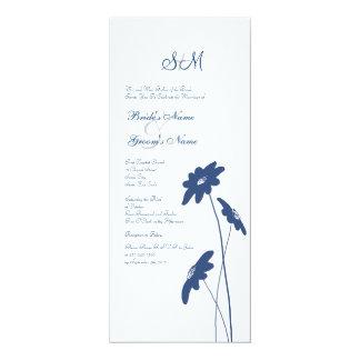 Wildflowers azules y blancos que casan la invitación 10,1 x 23,5 cm