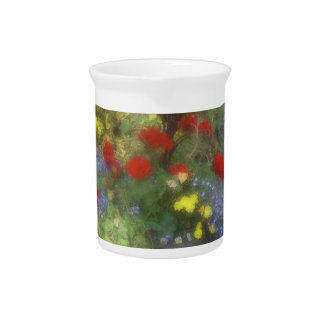Wildflowers azules y rojos de la acuarela jarra para bebida
