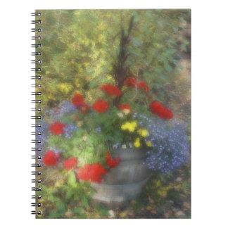 Wildflowers azules y rojos de la acuarela notebook