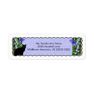 Wildflowers bonitos y etiquetas del remite del gat etiquetas de remite