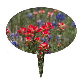 Wildflowers de la brocha india y del Bluebonnet de Figuras Para Tartas