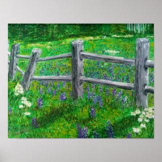 Wildflowers de la primavera y una cerca torcida póster