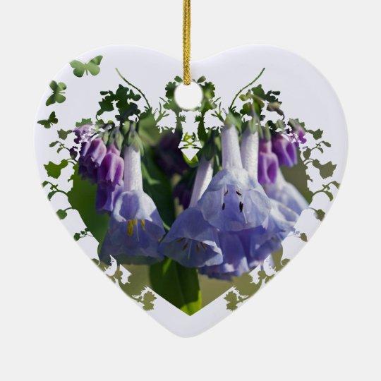 Wildflowers de los Bluebells de Virginia Adorno Navideño De Cerámica En Forma De Corazón