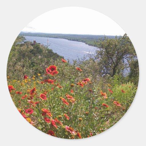 Wildflowers de Tejas - manta india Pegatinas Redondas