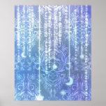 Wildflowers del damasco, SEÑORA VALESKA en azul Posters