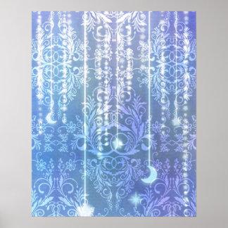 Wildflowers del damasco, SEÑORA VALESKA en azul Póster