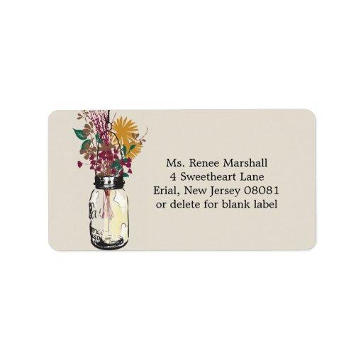 Wildflowers del tarro y del otoño de albañil etiquetas de dirección