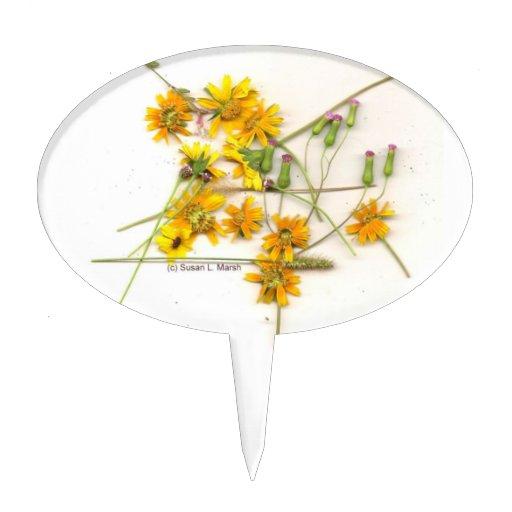 Wildflowers dispersados en amarillo y blanco palillos de tarta