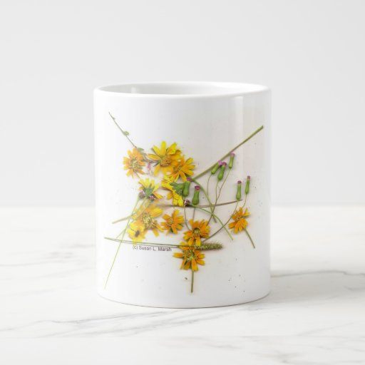Wildflowers dispersados en amarillo y blanco tazas jumbo