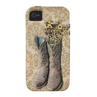 wildflowers elegantes de las botas de vaquero del  iPhone 4/4S funda