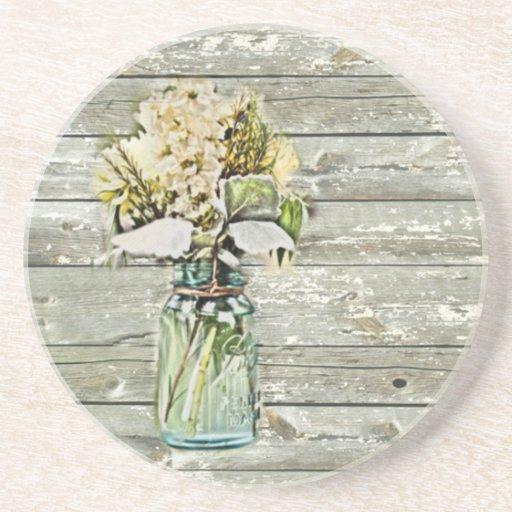 wildflowers elegantes del tarro de albañil del paí posavaso para bebida