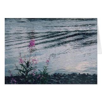 Wildflowers en el riverbank Alaska Tarjeta De Felicitación