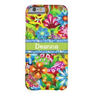 Wildflowers en los colores vivos personalizados funda de iPhone 6 barely there