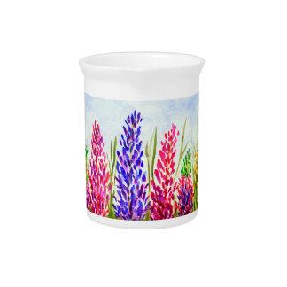 Wildflowers florales del Lupine del arte de la Jarra Para Bebida
