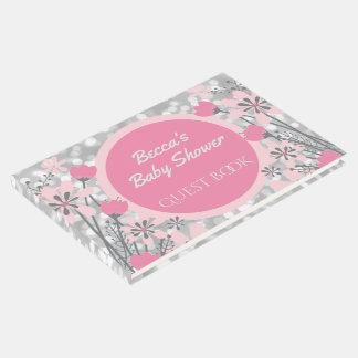 Wildflowers Garden | Pink Silver Bokeh Baby Shower Guest Book