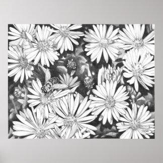 Wildflowers & Honeybee Art Print Fine Art Poster