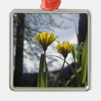 Wildflowers illuminated by the sunlight metal ornament