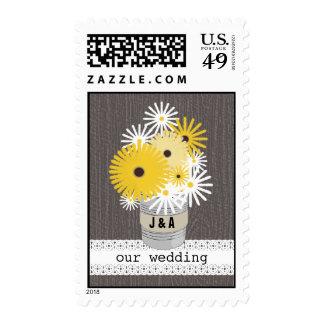 Wildflowers in Tin Can Wood Monogram Wedding Stamp