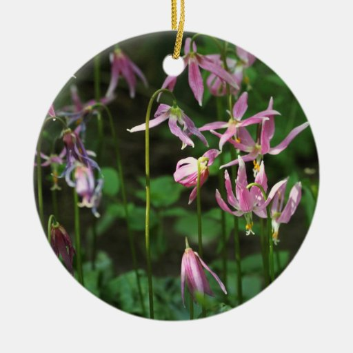 Wildflowers - lirios de cervatillo adorno navideño redondo de cerámica