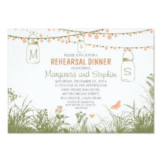 wildflowers, mason jars & lights rehearsal dinner 5x7 paper invitation card