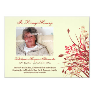 "Wildflowers Memorial Notice 4.5"" X 6.25"" Invitation Card"