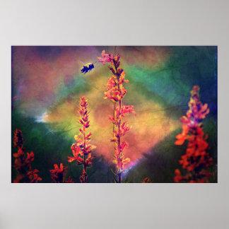 Wildflowers N Bee Autumn Diamond Poster
