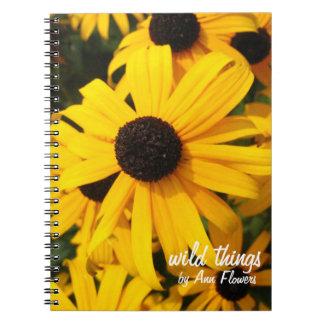 Wildflowers Negro-observados de Susans Libro De Apuntes Con Espiral