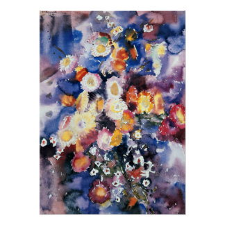 Wildflowers, pastel watercolor painting poster
