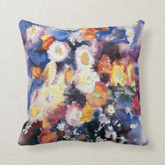 Wildflowers, pastel watercolor painting throw pillow