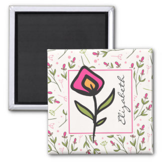 Wildflowers - Pink and Orange Petals Personalized Magnet