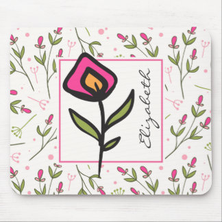 Wildflowers - Pink and Orange Petals Personalized Mouse Pad
