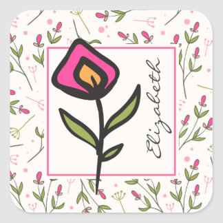 Wildflowers - Pink and Orange Petals Personalized Square Sticker