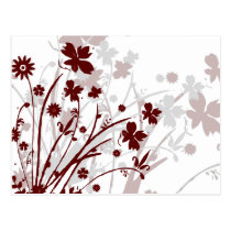 flourish, design, burgundy, maroon, red, postcard, flower, flowers, floral, art, nature, gift, gifts, Postcard with custom graphic design