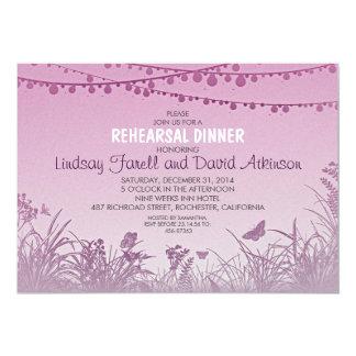 wildflowers purple string lights rehearsal dinner card