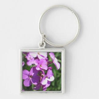 Wildflowers púrpuras llavero cuadrado plateado