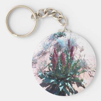 Wildflowers púrpuras llavero redondo tipo pin