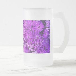 Wildflowers púrpuras para la esperanza taza cristal mate