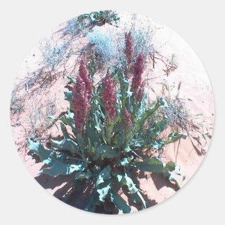 Wildflowers púrpuras etiquetas redondas