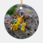 wildflowers que llevan del pika adorno navideño redondo de cerámica