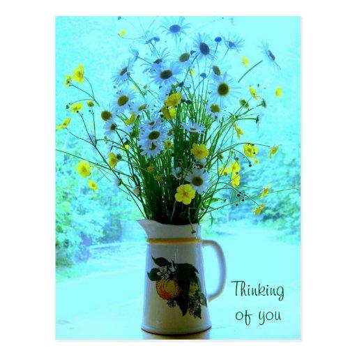 Wildflowers que piensan en usted tarjetas postales