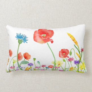 wildflowers spring flower watercolor lumbar pillow