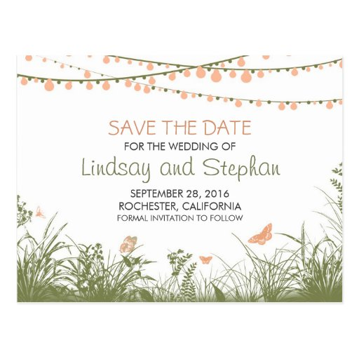 String Lights Save The Date : Wildflowers & String lights save the date postcard Zazzle