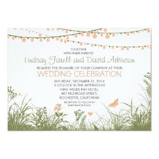 wildflowers y luces de la secuencia que casan la invitación 12,7 x 17,8 cm