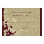 Wildflowers y respuesta del boda de la arpillera invitacion personalizada