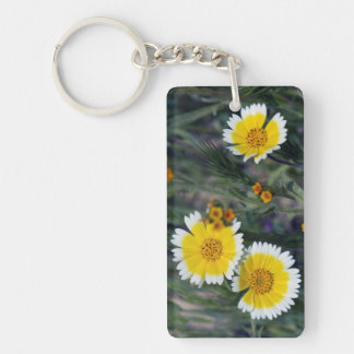 Wildflowers Yellow and White Sunflowers Keychain