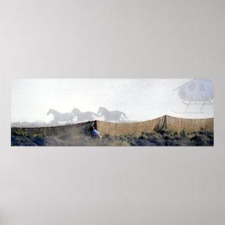Wildhorses acosó en el canal inclinado del yute póster